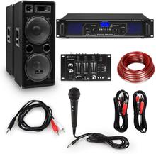 eStar 12 tum DJ-PA-party-set digitalförstärkare / mixerbord/boxar/mikrofon/kabel