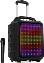 """Moving 80.1 LED PA-anläggning 8"""" woofer 100 W max UHF-mikrofon USB SD BT AUX mobil"""