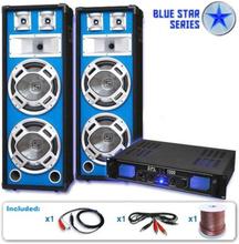 """PA Set Blue Star Series """"Basskern"""" 1000 Watt förstärkare LED"""