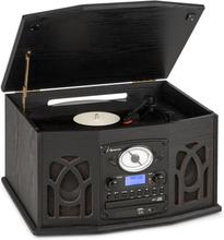 NR-620 DAB stereoanläggning trä skivspelare DAB+ CD-player svart