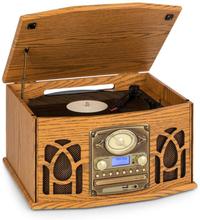 NR-620 DAB stereoanläggning trä skivspelare DAB+ CD-player brun