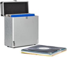 Vinylbox Alu LP-koffer för upp till 30 Vinylskivor Ihopfällbart lock Silver