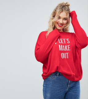 ASOS CURVE Christmas Jumper with 'Let's Make Out' Slogan - Red