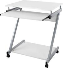 Skrivebord / computerbord med 4 hjul, hvoraf 2 med bremser