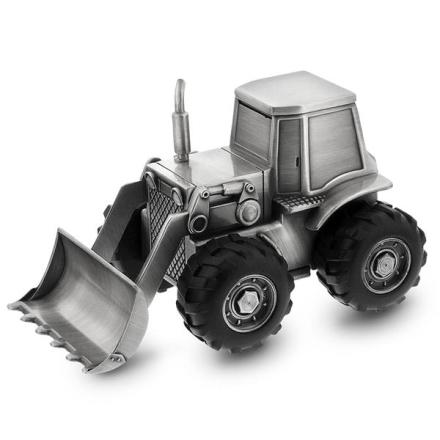Fortinnet sparebøsse, traktor.