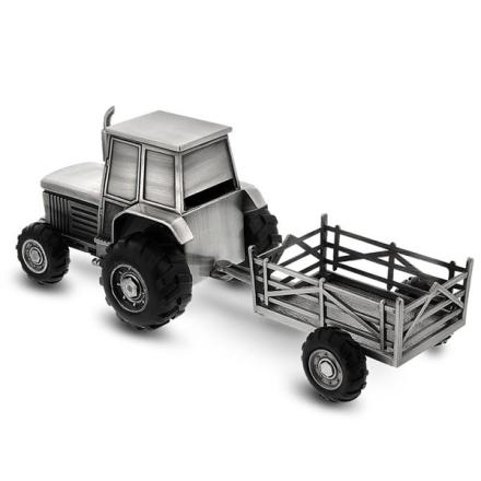Fortinnet sparebøsse, traktor med tilhenger.