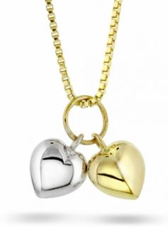 Halskjede i gull - 2 hjerter