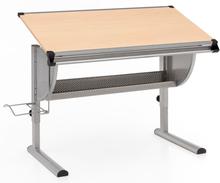 Skrivebord i bøgetræ, justerbart og med hældningsfunktion