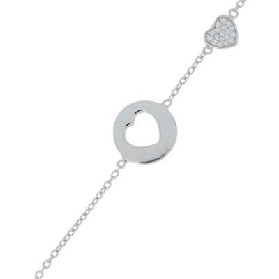Hjerterom armbånd i sølv