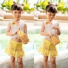 Crochet Children Swimwear Baby Kids Cute Bikini Girls Split Two Pieces Swimsuit Bathing Suit Beachwear Kids Biquini Infantil