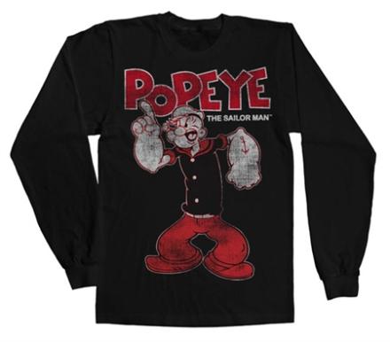 Popeye Distressed Sailor Man Long Sleeve Tee, Long Sleeve T-Shirt