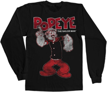 Popeye Distressed Sailor Man Long Sleeve Tee, Long Sleeve T-Shirt
