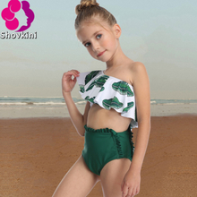 Green Leaf Ruffle one shoulder Swimsuit For Girls 2020 Child Baby Summer Kids Girls Swimwear Swimsuit Bikini Outfits Set