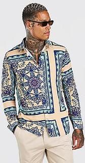 Long Sleeve Bright Baroque Print Shirt