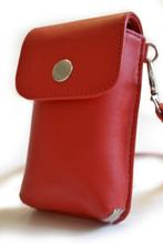 Mobilväska i läder - Ruby Red
