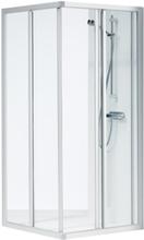 Ifö Solid Dusjvegg 900x700 mm, Klart glass m/aluminiumsprofil