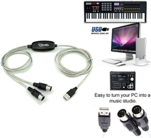 Usb In-out Midi Interface Cable Converter Pc To Music Keyboard A One Size