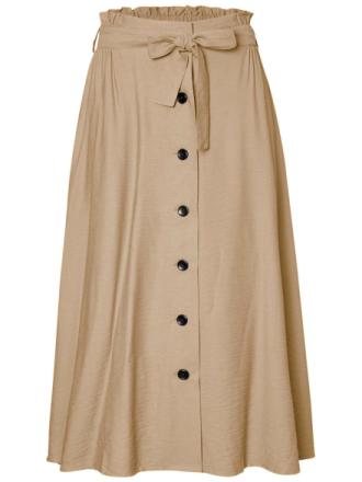 PIECES Long Skirt Women Beige