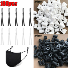 100pcs Suitable Face Cover Line Adjuster Elastic Sliding Buckle White 100pcs