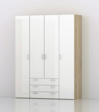 Tvilum Garderob Space 200 (4 dörrar + 3 lådor)-Vit Högglans/Ek