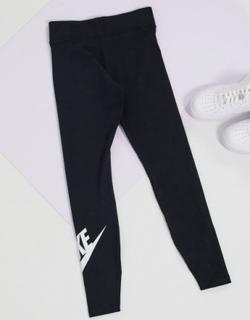 Nike high waisted leggings in black with nike swoosh logo calf print