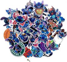 Disney stitch stickers 52pcs/lot no-repeat sticker PVC pegatinas mixed size 5-10cm cartoon adesivo autocollant suitcase stikers