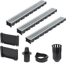 vidaXL Markrännor 3 st galvaniserat stål 3 m
