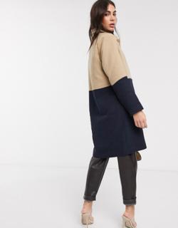Ichi - marineblå og kamelfarvet longline frakke med paneler-Multifarvet