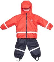 Regnställ ofodrad, Barn, Röd/Mörkblå