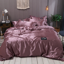 Pure Satin Silk Bedding Set Lace Luxury Duvet Cover Set Single Double Queen King Size 240x220 Couple Quilt Covers White Gray Red