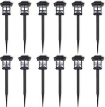 vidaXL Soldrivna marklampor LED 12 st med spett 8,6 x 8,6 x 38 cm