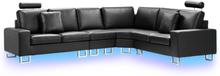 6-istuttava kulmasohva oikeakätinen nahkainen musta LED valoilla STOCKHOLM