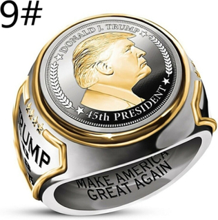 Usa: S President Trump Rings Band Rings Two-tone 9