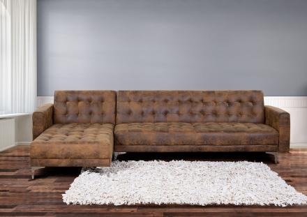 Soffa brun - hörnsoffa - sovfunktion - läder - ABERDEEN