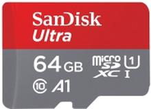 SanDisk Ultra - Flashhukommelseskort (microSDXC til SD adapter inkluderet) - 64 GB - A1 / UHS Class 1 / Class10 - microSDXC UHS-I