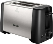Philips Daily Collection HD4825 Metal Compact - Brødrister - 2 skive - 2 Holdere - sort/rustfrit stål