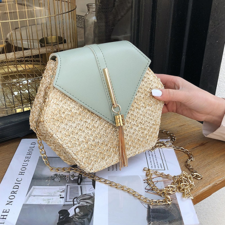 Hexagon Straw Bag For Women 2019 Summer Woven Beach Crossbody Bags Ladies Small Purses and Handbags Female Travel Messenger Bag