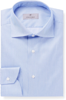 Blue Slim-fit Cutaway-collar Striped Cotton-twill Shirt - Blue
