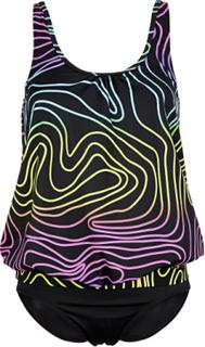 Tankini med neonfarger Maritim svart mønstret