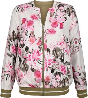 Vendbar jakke med blomstermønster Laura Kent Oliven