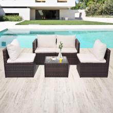 vidaXL Loungegrupp för trädgården med dynor 5 delar konstrotting brun