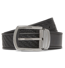 3.5cm Black Reversible Pelletessuta Leather Belt - Black