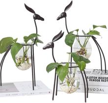 Eisen-Rotwild-Blumen-Vase-kreativer Wasserkulturbehälter-Glashauptdekoration