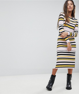 Noisy May Striped Midi Dress - Multi
