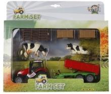 Farm Set Kids Globe Rød Traktor m vogn Køer Hegn Halm