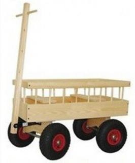 Trækvogn 2 personer luft hjul 80x40 cm