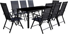 vidaXL Matgrupp för trädgården 9 delar aluminium svart