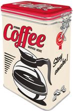Kaffeburk coffee served here med knäpplock