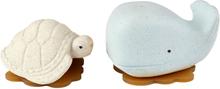 Hevea - Wal & Schildkröte (100% Upcycling-Naturkautschuk) - Geschenkset, Wasserspielzeug - Blau & Vanille