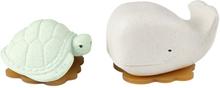 Hevea - Wal & Schildkröte (100% Upcycling-Naturkautschuk) - Geschenkset, Wasserspielzeug - Grün & Weiß